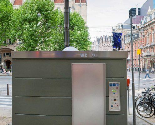 Volautomatisch zelfreinigend openbaar toilet van Pop-up Toilet Company
