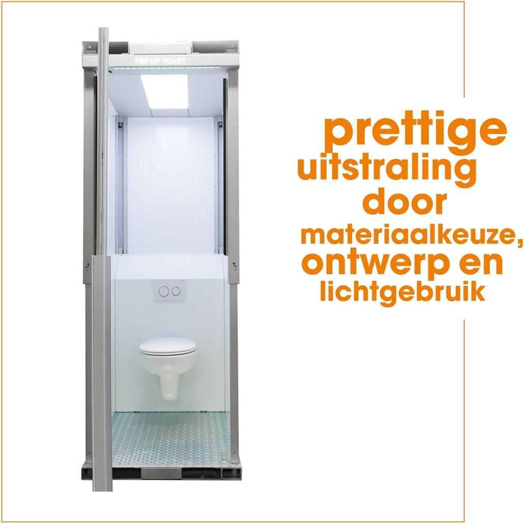 Pop-Up Event Toilet: Prettige uitstraling door materiaalgebruik, ontwerp en lichtgebruik